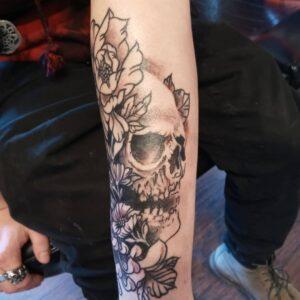 Flowers Skull Tattoo Design Good Times Tattoo Seattle