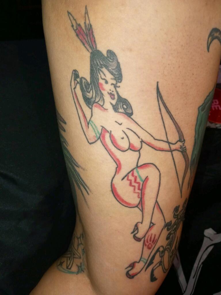 Pinup archer woman Tattoo Design Good Times Tattoo Seattle